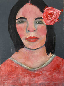 Mixed Media Outsider Art Original Portrait Collage Painting Katie Jeanne Wood