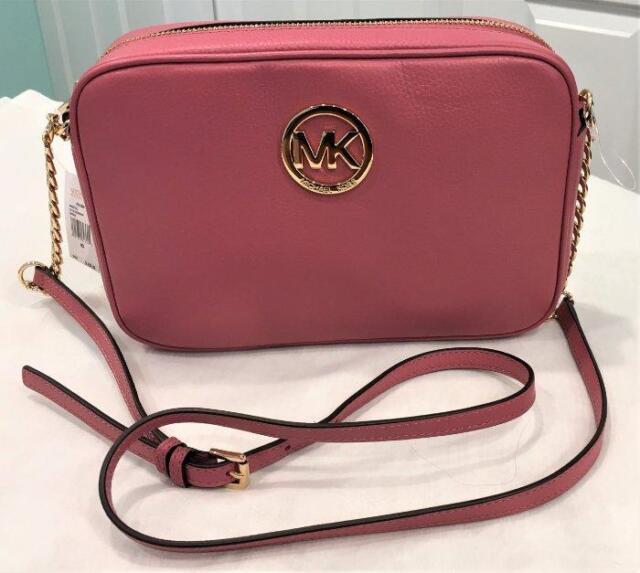 Michael Kors Fulton Large Tulip Pink Leather Shoulder Crossbody Bag Purse