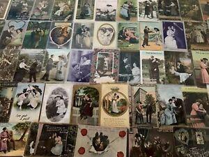 Big-Lot-of-Victorian-Romance-Antique-Postcards-Men-Ladies-People-Romantic-s927