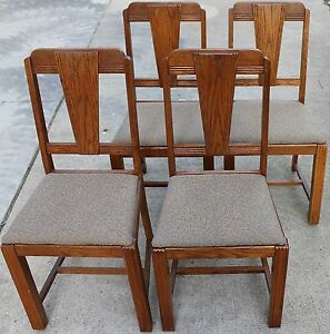 "4 Vintage Art Deco Style Oak Dining Chairs ""LOCAL PICK UP ..."
