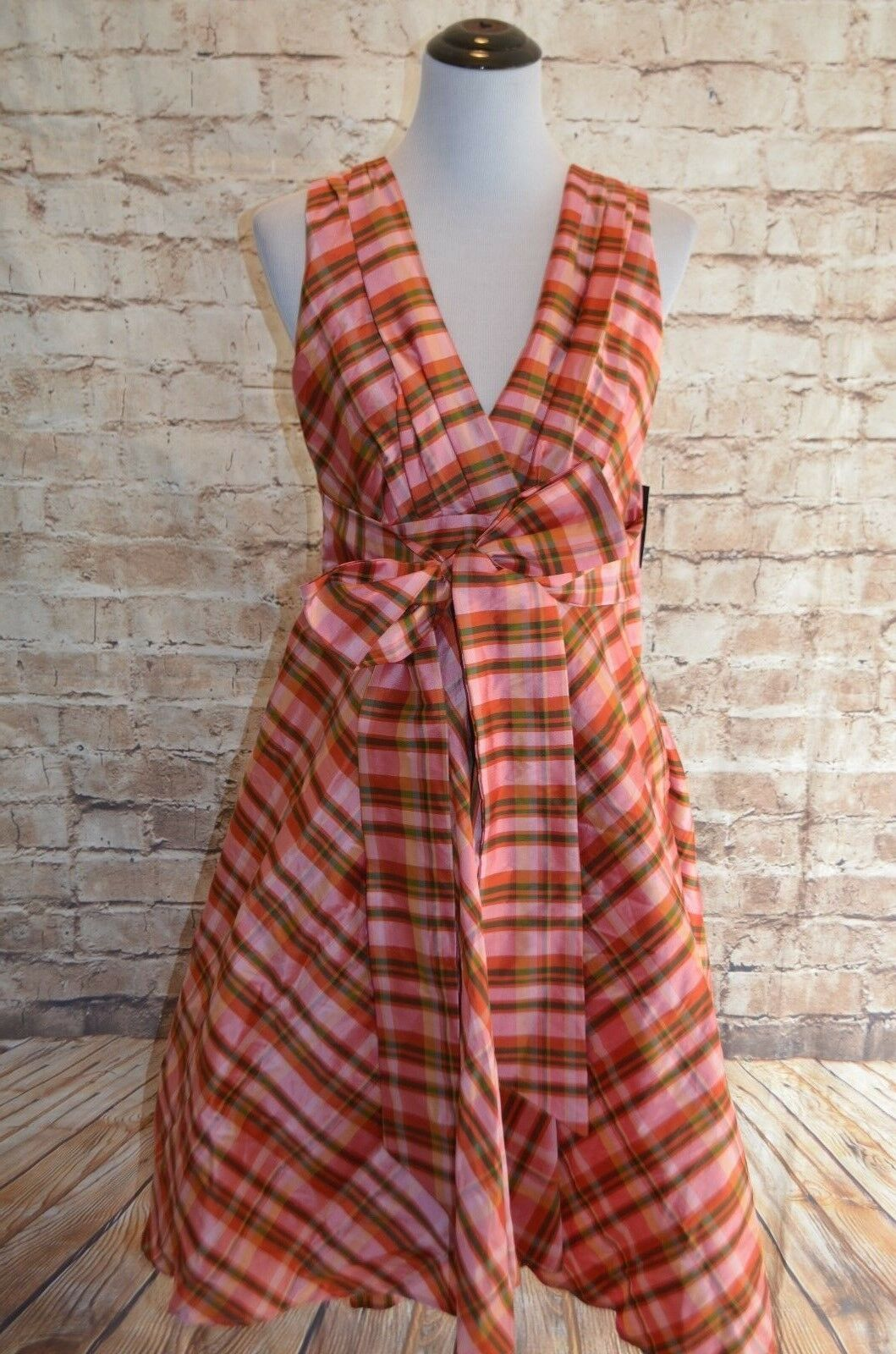 Modcloth The Time is Wow dress NWTD 10 Eva Franco Coconinno pink plaid