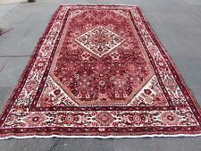 Old Traditional Hand Made Persian Oriental Wool Pink Red Large Carpet 340x210cm