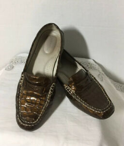 SPERRY-TOP-SIDER-Brown-Snake-Skin-Design-Leather-Penny-Loafers-7-5M