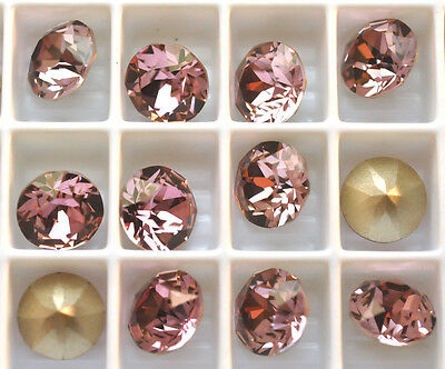 12 Antique Pink 1088 Swarovski Crystal Chaton Stone SS39 Foiled 8MM