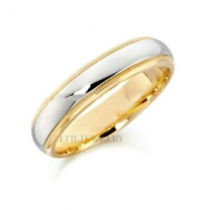 White Gold Mens Wedding Bands.Details About Two Tone Gold Wedding Bands 5mm 14k White Yellow Gold Mens Wedding Bands Rings