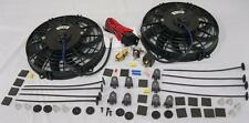 "Dual 9"" S-Blade Electric Radiator Cooling Fans + Thermostat Relay & Mounting Kit"