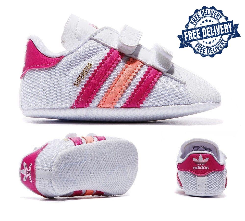 Crueldad Ubicación Volar cometa  Adidas Kids Toddlers Superstar Baby Trainers Retro Sneakers White/Pink for  sale online