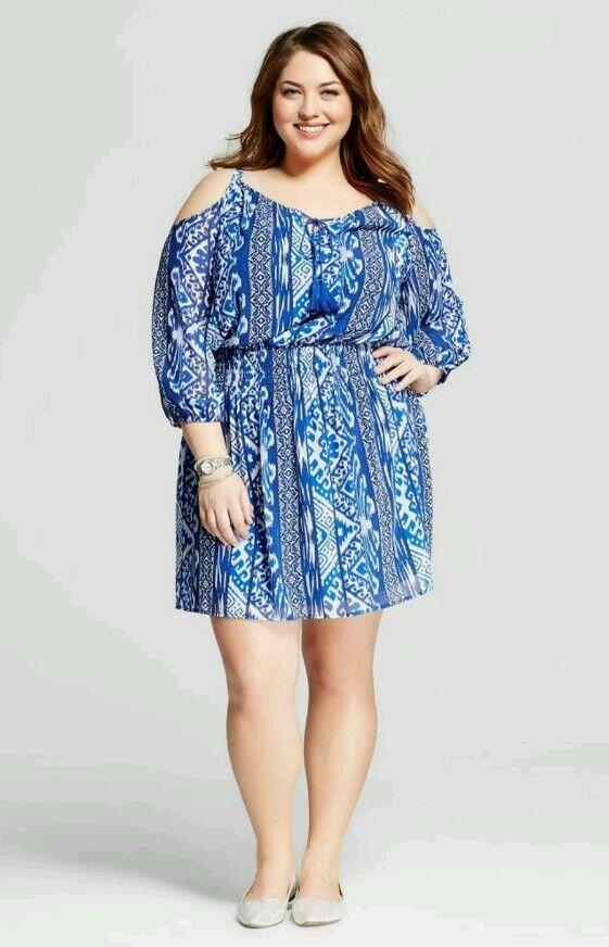 SPENSER JEREMY Printed Blouson Cold Shoulder Dress bluee Womens Plus Sz 22W NWT