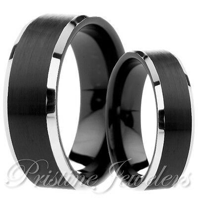 His & Her Black Silver Tungsten Wedding Band Mens Promise Engagement Ring Set