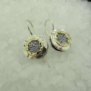 925 Sterling Silver Yellow Druzy Round Dangle Earrings