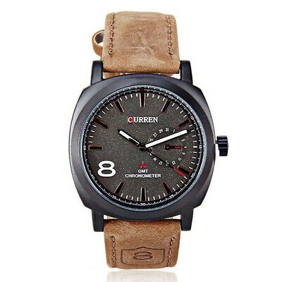 Sport CURREN Men's Watches Men Military Leather Waterproof Quartz Wrist Watch