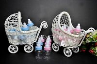 Baby Shower Party Decoration Pink Blue Wicker Baby Carriage 12 Fillable Bottles