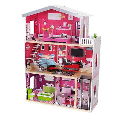 Puppenhaus Puppenvilla Puppenstube Holzspielzeug 3 Etagen Lift + Möbeln Zubehör