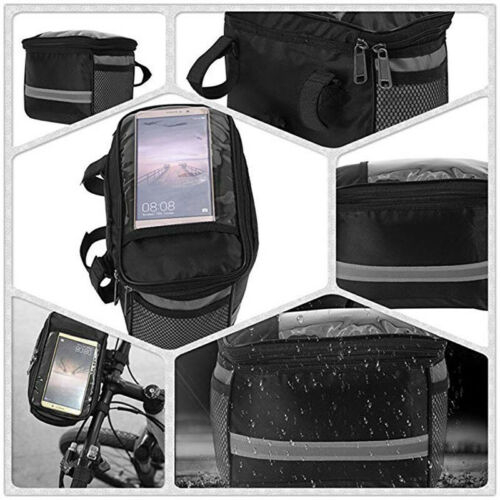 Large Capacity Bike Front Basket Durable Waterproof Tube Handlebar Bag S