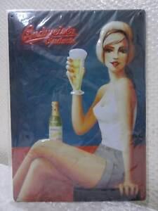 Budweiser-Cerveza-Pinup-en-Relieve-Chapa-Signo-de-Aspecto-Vintage