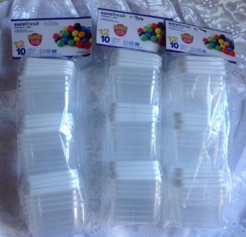 MINI*STORAGE*CONTAINERS*WITH*LIDS*SURE*FRESH*PLASTIC*REUSABLE*RECTANGULAR*48*PC
