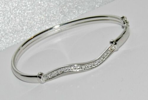 Sterling Silver Baby Bangle ~ Sparkling Zirconia Stones ~ Solid 925 Silver