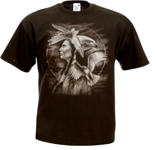 T Shirt  in 8 Farbtönen Indianer Natur /& Flackenmotiv Modell Indian Hawk