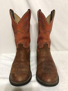 c164422fafa Details about Justin George Strait Cowboy Boots Leather Tan Orange Mens  Size 8.5 D