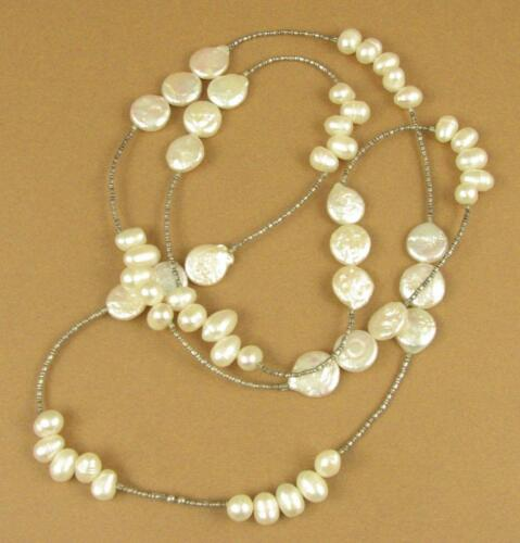 Pearl long necklace Disc and teardrop Handmade Sterling silver 925 White