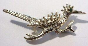 broche bijou rétro couleur argent oiseau brillant imitation émeraude *101 M3PcZbM4-07200550-734808117