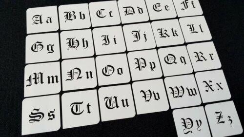 15mm Old English Lettering Alphabet Font Stencils set Upper Lover Case Script