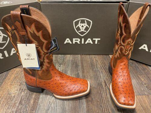 Men/'s Quantum Classic genuine Full Quill Ostrich western boot by Ariat Brandy.