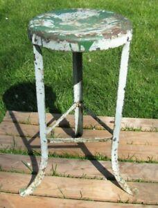 "Old 3 Leg Industrial Metal Stool Seat Repair Shop Gas Station Factory 24"" Tall"