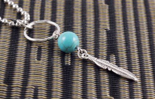 "#N121K New Great Feather Wing Turquoise Bead Hoop Choker Women Men Necklace 18/"""
