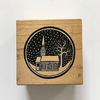 PSX E-069 Silent Night Snowy Winter Church Scenic Wood Mount Rubber Stamp Circle