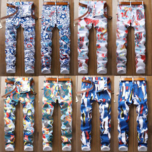 HOT-SALE-Trendy-Men-039-s-Skinny-Jeans-Printed-Frayed-Slim-Fit-Denim-Colorful-Pants