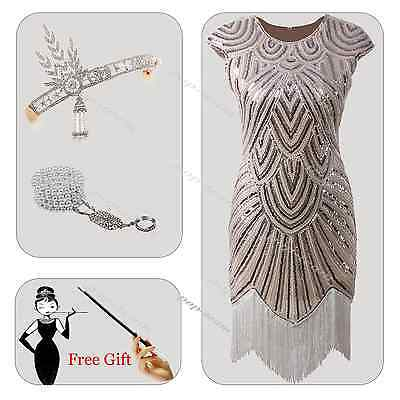 Women's 1920s Flapper Dress Great Gatsby Charleston Beads Fringe Outfits Costume