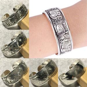 Tibetanisches-Silber-ueberzogene-Elefant-Tibet-Totem-Armreif-Schmuck-ManscheRSXUI
