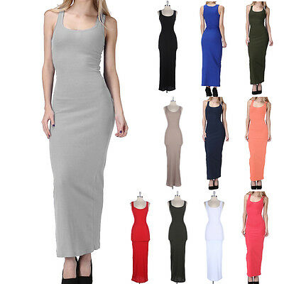 Women's Tightly Fitted Long MAXI DRESS Ribbed Sleeveless Tank Dresses S M L