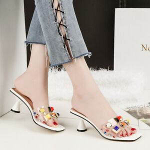 Women-039-s-Peep-Toe-Transparent-Sandals-Cone-Heels-Slippers-Casual-Shoes-US4-5-8