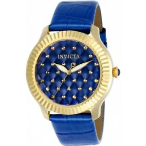 Invicta-22564-Angel-Quartz-Quilted-Dial-Blue-Patent-Leather-Strap-Women-039-s-Watch