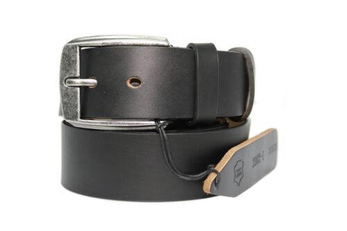 4mm de grosor Echt Leder Cinturón Caballero Mujer vollrindleder negro 4cm de ancho-aprox