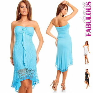 New-Women-039-s-Sexy-High-Low-Dress-Crochet-Lace-Long-Tops-Size-XS-S-M-6-8-10