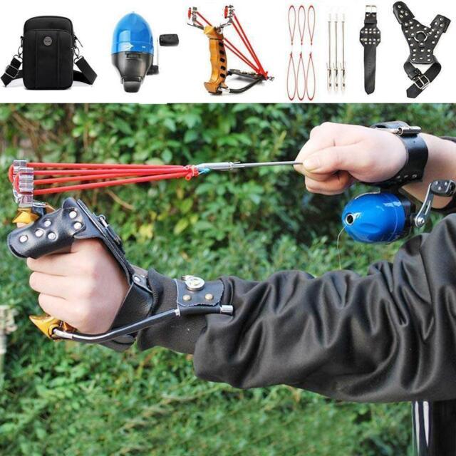 Angeln Slingshot Set Jagd Fischen Katapult Bowfishing Armband Handschuh Pink