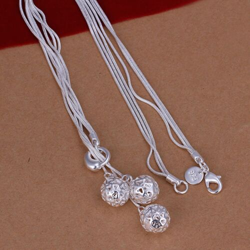 925 Sterling Silver Necklace Pendant Balls 18 Inches 1MM Lobster B6