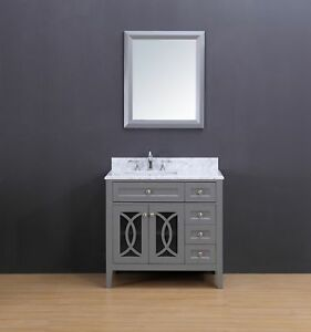 Transitional Bathroom Vanity Set W Carrera Marble Top Gray 36
