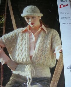 Original-Vintage-Emu-Knitting-Pattern-Lady-039-s-Mohair-Waistcoat-amp-Hat-No-3342