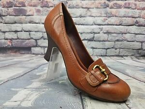 Women-s-Nicole-shoes-Brown-Leather-Slip-on-Low-heels-Made-in-Brazil-Size-8-5-M