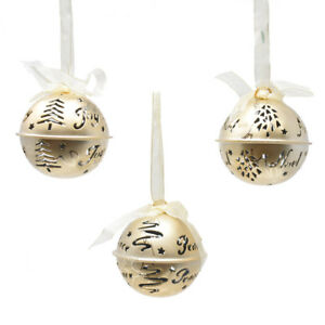 Details About Joy Noel And Peace Hanging Metal Bell Christmas Ornaments 2 1 2 Inch 3 Piece