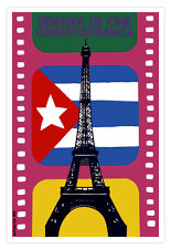 Cuban movie Poster for French film.EIFFEL Tower.France.Cuban flag cinema.Decor