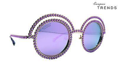 Vintage CHANEL Oval Violet Purple Pearl Rose Gold Frame Mirror Lens CLEARANCE!