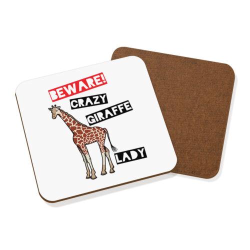 Méfiez-vous fou Girafe Lady Coaster Drinks Tapis-Drôle