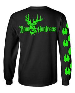 Bow Huntress Women/'s Long sleeve Logo t shirt deer hunting logo hunter hunting