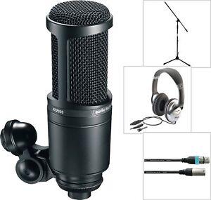 Audio-Technica-AT-2020-Studio-Kondensator-Mikrofon-mit-Kopfhoerer-Kabel-Stativ