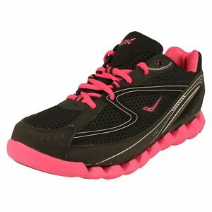 Ladies SPRING WAVE Black/Fuchsia leather lace up trainers   by ASCOT  £19.99